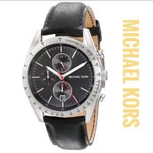 Michael Kors Accelerator Black Leather Men´s Watch